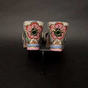 Carved and Hand Painted Wooden Heels Tropical Shoe